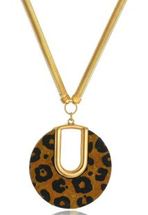Colar Le Diamond Pingente Animal Print Dourado
