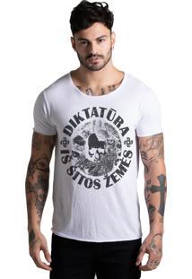 Camiseta Joss Corte A Fio Caveira Circulo Branca