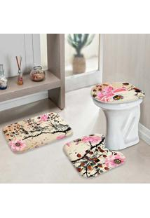 Jogo Tapetes Para Banheiro Pintura Flores