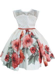 Vestido Giovanella De Festa Infantil Off White Com Flores Vermelhas