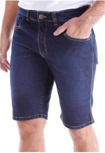 Bermuda Jeans Traymon Slim 5 Bolsos Stonada Masculina - Masculino-Azul Escuro