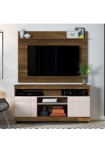 Rack Yara Com Painel Para Tv Maia Até 47 Polegadas Canela E Off White