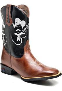 Bota Texana Ded Calçados Bico Quadrado Cano Longo Bordado Tião Carreiro Masculina - Masculino-Marrom
