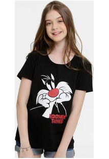 Blusa Juvenil Estampa Frajola Manga Curta Looney Tunes