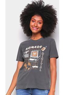 Camiseta T-Shirt Cantão Slim Nomade Digital Feminina - Feminino-Cinza