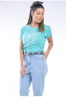 Camiseta Cia Gota Manga Curta Carpe Dien Feminina - Feminino-Verde Água