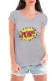 Camiseta Criativa Urbana Pow Quadrinhos Super Heróis - Feminino-Cinza
