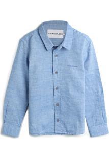 Camisa Calvin Klein Kids Menino Lisa Azul