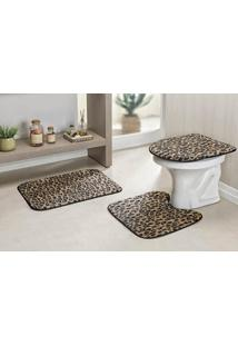 Jogo De Banheiro Guga Tapetes Safari Standard 3 Pecas Leopardo