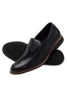 Sapato Loafer Com Gravata Couro Mah Bloodstone Preto