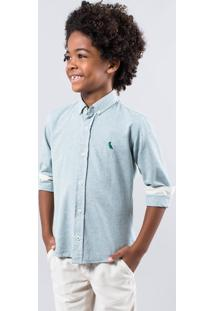 Camisa Mini Pf Regular Oxford Inv 17 Reserva Mini Verde