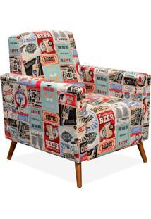 Poltrona Decorativa Para Sala De Estar Pés Palito Liz Vintage - Lyam Decor