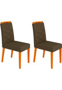 Conjunto Com 2 Cadeiras Caroline Iii Ipê E Marrom
