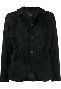 Comme Des Garçons Comme Des Garçons Floral Jacquard Single-Breasted Jacket - Preto
