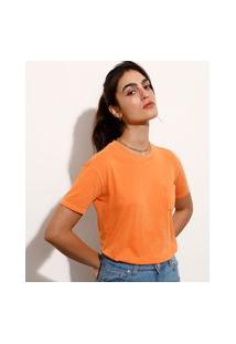 T-Shirt De Algodão Com Bolso Manga Curta Decote Redondo Mindset Laranja Neon