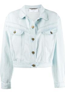 Alberta Ferretti Jaqueta Jeans Cropped - Azul