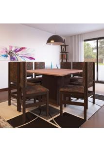 Conjunto De Mesa Com 8 Cadeiras Solange Tabaco E Floral Escuro