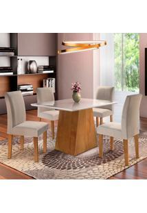 Conjunto De Mesa De Jantar Sevilha Com 4 Cadeiras Classic L Linho Off White E Bege