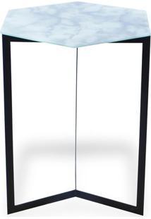 Mesa Com Vidro- Preta & Off White- 55,5X40,5X47Cm