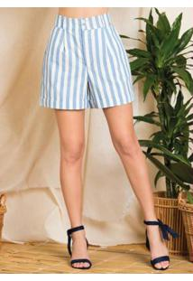 Shorts Com Barra Italiana Listrado Azul