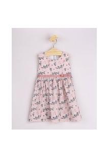 Vestido Infantil Estampado De Borboletas Com Laço Alça Larga Rosa Claro