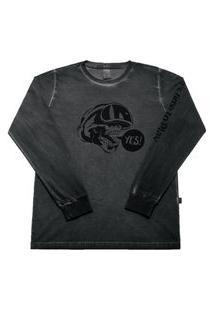 Camiseta Preto - Juvenil Menino Meia Malha 42455-51 Camiseta Preto Juvenil Menino Meia Malha Ref:42455-51-16