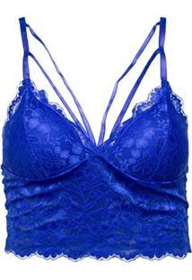 Sutiã Cropped Renda Strappy Lingerie - Feminino-Azul Royal