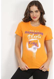 Camiseta Coca-Cola Made With Hapiness Atlanta Feminina - Feminino-Laranja Escuro