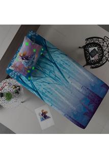 Jogo De Cama Portallar Solteiro Malha Frozen Destiny Estampado 2 Peças Disney Azul
