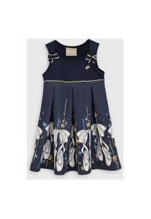 Vestido Milon Infantil Bailarina Azul-Marinho/Dourado