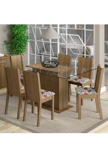 Conjunto Sala De Jantar Madesa Molly Mesa Tampo De Vidro Com 6 Cadeiras Marrom - Marrom - Dafiti