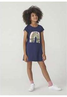 Vestido Infantil Menina Modelagem T-Shirt Hering Kids Azul