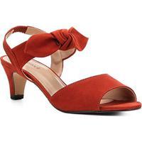 92f661989 Sandália Couro Shoestock Nobuck Salto Baixo Laço Feminina -  Feminino-Caramelo