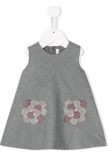 Il Gufo Vestido Com Bordado Floral - Cinza