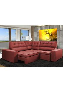 Sofa De Canto Retrátil E Reclinável Com Molas Cama Inbox Austin 2,70M X 2,70M Suede Velusoft Vermelho