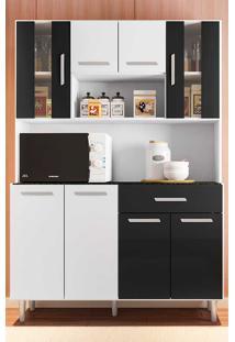 Cozinha Compacta Com Tampo 8 Portas Gabi - Poliman - Branco / Preto