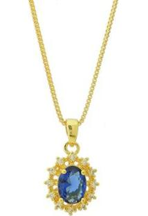 Colar Dona Diva Semi Joias Princesa Oval Feminino - Feminino-Dourado+Azul