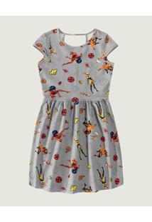 Vestido Godê Ladybug® Malwee Kids Cinza - 10