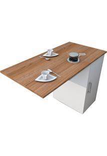 Mesa De Cozinha Articulada Retangular Enjoy Castanho E Branca 100 Cm
