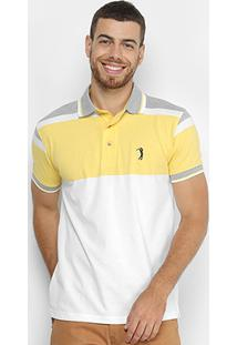 c4b785ee130db Camisa Polo Aleatory Listrada Masculina - Masculino-Amarelo+Cinza