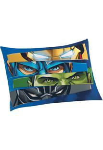 Fronha Avulsa Estampada Avengers 50 Cm X 70 Cm Com 1 Peça Lepper Azul
