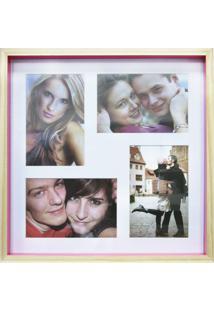 Quadro Para Fotos Wood Natural E Pink 30X30Cm