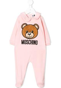 Moschino Kids Pijama Com Logo Bordado - Rosa