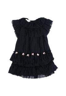Vestido Midi Em Tule Infantil Menina Fredie Mon Petit Preto