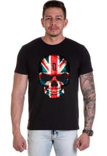 Camiseta Lucas Lunny T Shirt Gola Redonda Preta Caveira Eua