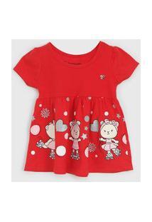 Vestido Brandili Infantil Ursinho Vermelho