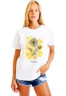 Camiseta Joss Feminina Estampada Signo Virgo - Feminino-Branco