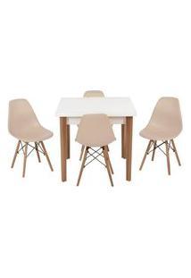 Conjunto Mesa De Jantar Luiza 80Cm Branca Com 4 Cadeiras Eames Eiffel - Nude