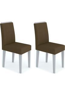 Conjunto Com 2 Cadeiras Amanda Off White E Marrom Escuro
