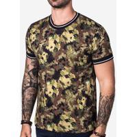 Camiseta Camo Gola Listrada 102745 00af367e179